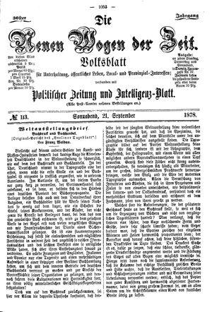 Neue Wogen der Zeit vom 21.09.1878