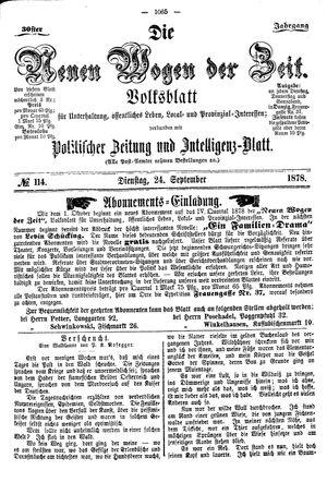 Neue Wogen der Zeit vom 24.09.1878