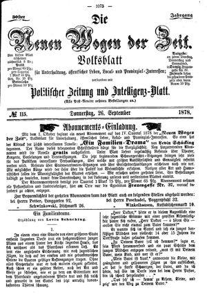 Neue Wogen der Zeit vom 26.09.1878