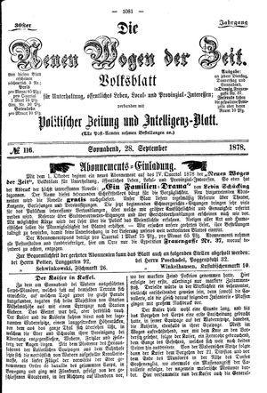 Neue Wogen der Zeit vom 28.09.1878