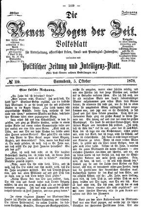 Neue Wogen der Zeit vom 05.10.1878