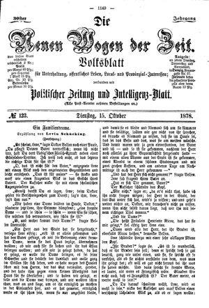 Neue Wogen der Zeit vom 15.10.1878