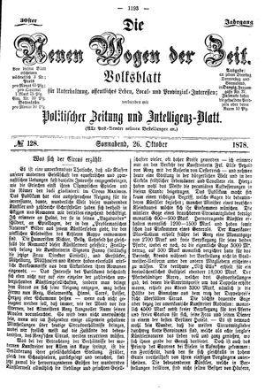 Neue Wogen der Zeit vom 26.10.1878
