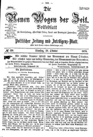 Neue Wogen der Zeit vom 29.10.1878