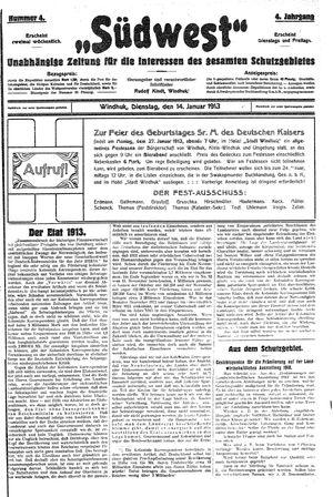 Südwest vom 14.01.1913