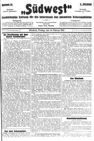 Südwest vom 14.02.1913