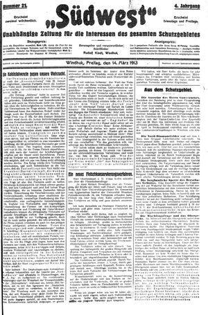 Südwest vom 14.03.1913