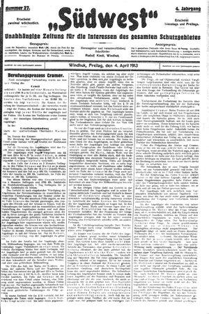 Südwest vom 04.04.1913