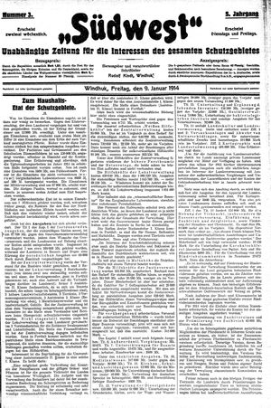 Südwest vom 09.01.1914