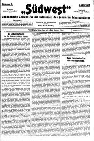 Südwest vom 20.01.1914