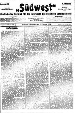 Südwest vom 10.02.1914
