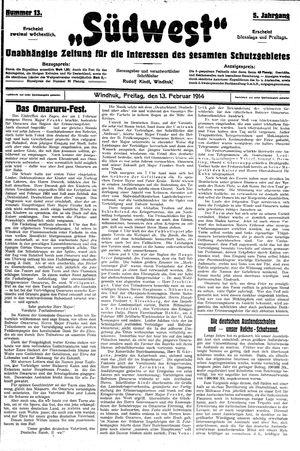 Südwest vom 13.02.1914