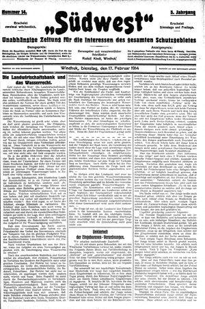 Südwest vom 17.02.1914