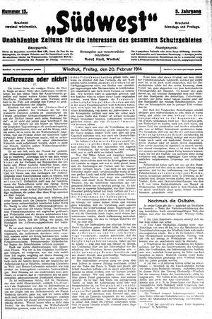 Südwest vom 20.02.1914