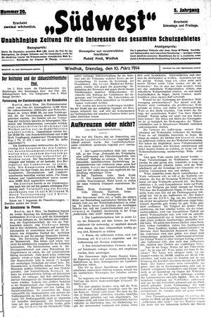 Südwest vom 10.03.1914