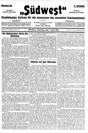 Südwest vom 07.04.1914