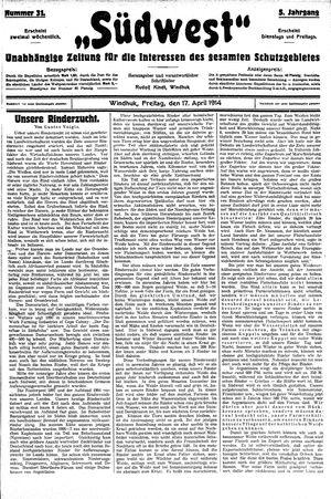 Südwest vom 17.04.1914