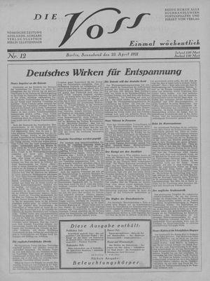 ˜Dieœ Voss vom 23.04.1921