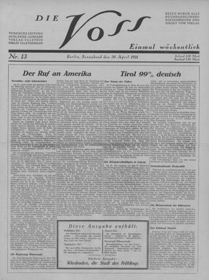 ˜Dieœ Voss vom 30.04.1921