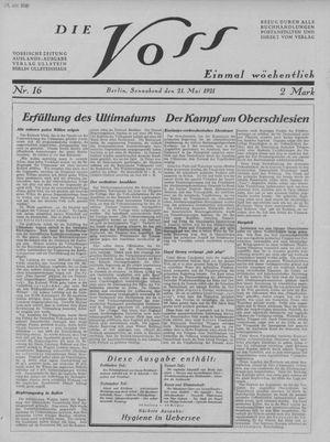 ˜Dieœ Voss vom 21.05.1921
