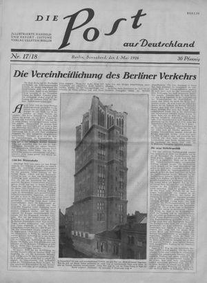 ˜Dieœ Post aus Deutschland vom 01.05.1926