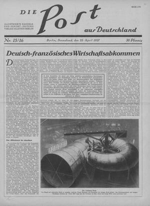 ˜Dieœ Post aus Deutschland vom 23.04.1927