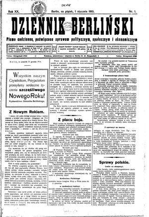 Dziennik Berliński vom 01.01.1915