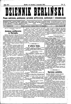 Dziennik Berliński vom 05.01.1915