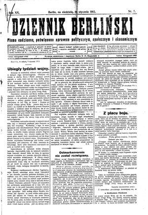 Dziennik Berliński vom 10.01.1915