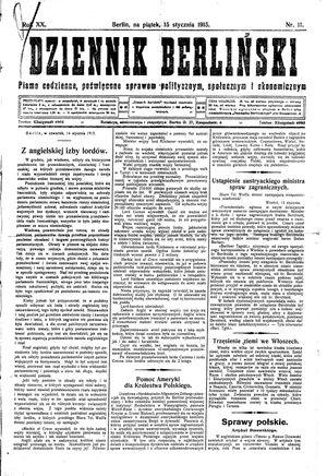 Dziennik Berliński vom 15.01.1915