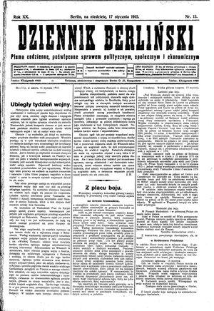 Dziennik Berliński vom 17.01.1915