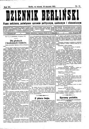 Dziennik Berliński vom 19.01.1915