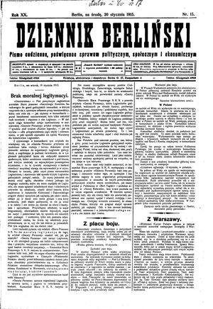 Dziennik Berliński vom 20.01.1915