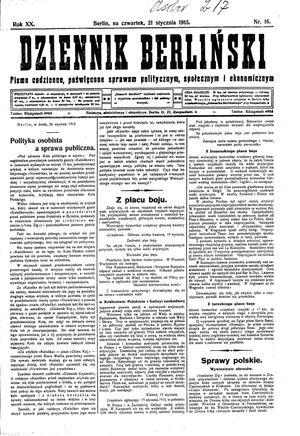 Dziennik Berliński vom 21.01.1915