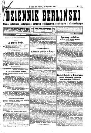 Dziennik Berliński vom 22.01.1915