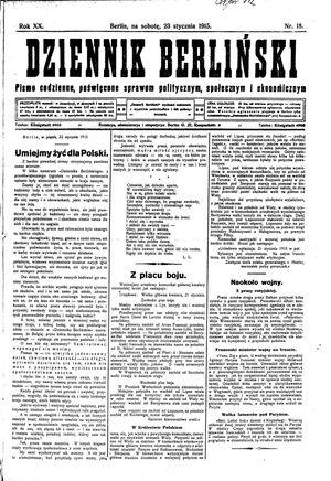Dziennik Berliński on Jan 23, 1915