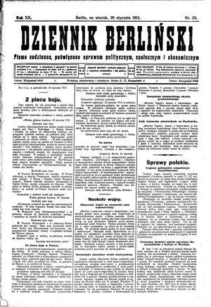 Dziennik Berliński vom 26.01.1915