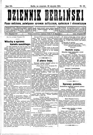Dziennik Berliński vom 28.01.1915