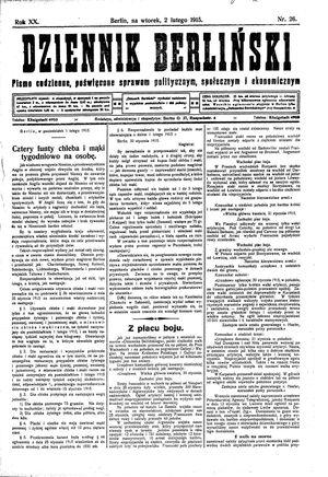Dziennik Berliński vom 02.02.1915
