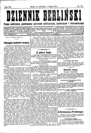 Dziennik Berliński vom 07.02.1915