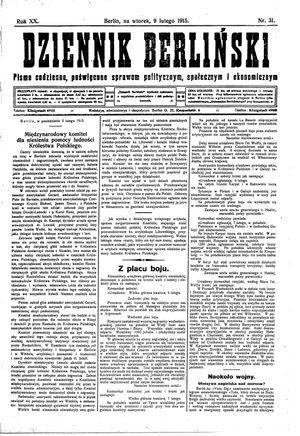 Dziennik Berliński vom 09.02.1915