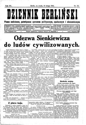 Dziennik Berliński vom 10.02.1915