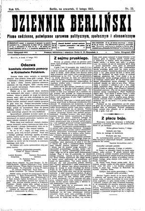 Dziennik Berliński vom 11.02.1915