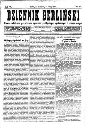 Dziennik Berliński on Feb 14, 1915