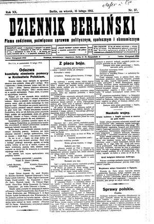 Dziennik Berliński vom 16.02.1915