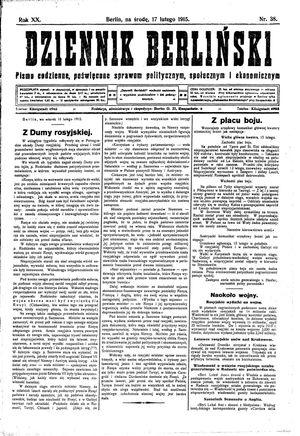 Dziennik Berliński vom 17.02.1915