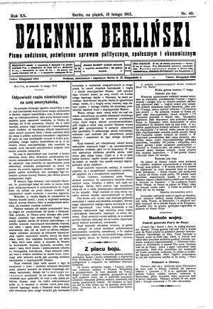Dziennik Berliński vom 19.02.1915