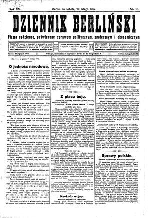 Dziennik Berliński vom 20.02.1915