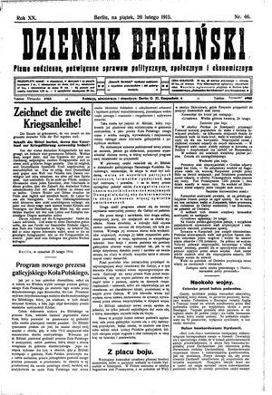 Dziennik Berliński vom 26.02.1915
