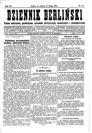 Dziennik Berliński vom 27.02.1915